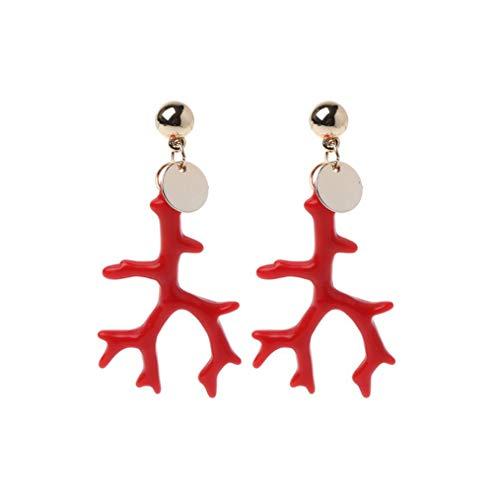 Women Acrylic Earring Enamel Coral Resin Antlers Branch Earrings,1