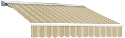 Awntech 10-Feet Destin LX with Hood Manual Retractable Acrylic Awning, 96-Inch Projection, Linen/Almond/White
