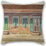 Alphadecor Oil Painting William Woodward - House On Dumaine Street, New Orleans Pillow Cases ,best For Kids Room,bar Seat,valentine,valentine,kids,gf 18 X 18 Inches / 45 By 45 Cm(two Sides) - Olive Kids Under Construction Queen