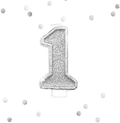 Amazon Silver Glitter 1st Birthday Candle Number 1 White One Smash Cake Topper Toys Games