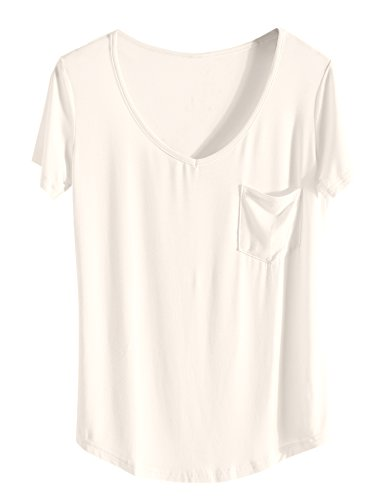 Blouse Shirt Blanc Dcontract t Top Manche Col Chemisier Tee iClosam Crme Femme V Courte Shirt qP7fy1aw