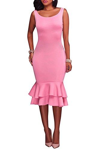 Wonderoy Women's Tank Top Slim Fit Cocktail Party Ruffles Mermaid Bodycon Midi Dress XL - Day Shipping Two