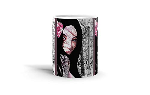 Ceramic Coffee Mug Japan Culture Cup A Black And White Landscape With The Face Of A Geisha D Japanese & Asian Arts Asia Drinkware Super White Mugs Family Gift Cups ()