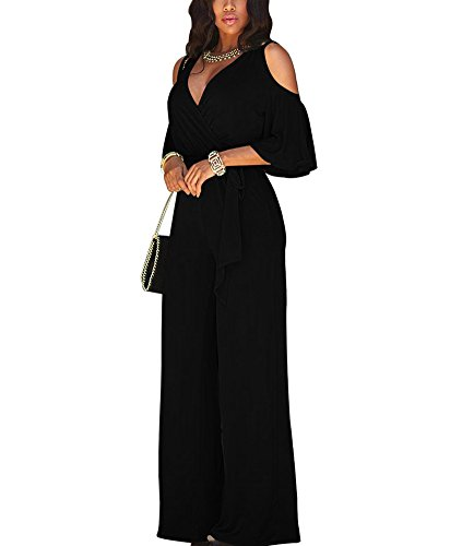 Silk Jumper (Dreamparis Women's Sexy V-Neck Cold Shoulder High Waisted Wide Leg Jumpsuits Rompers Loose Long Pants)