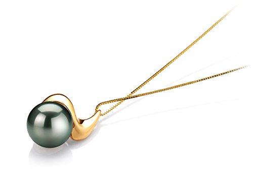 Noir 10-10.5mm AAA-qualité de Tahiti 585/1000 Or Jaune-pendentif en perles