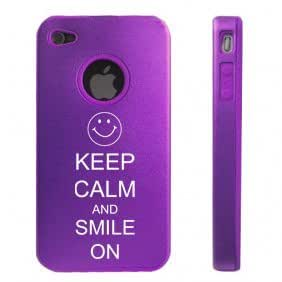 Apple iPhone 4 4S 4 Purple D2891 Aluminum & Silicone Case Cover Keep Calm and Smile On Happy Face