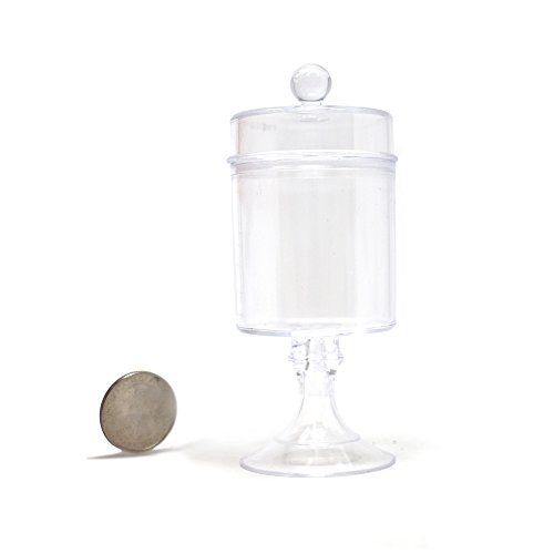 Homeford Clear Plastic Candy Jar Party Favor Container, 4-1/2-Inch x 1-3/4-Inch, 12-Count
