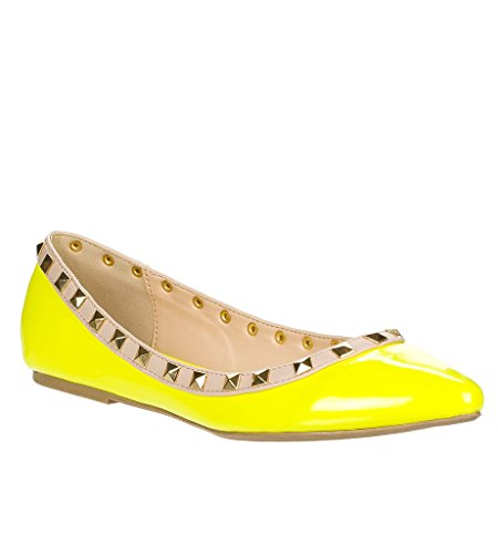 Wild Diva Women's Fashion Pippa Studs Pointy T Bar Flats Shoes,6 B(M) US,Neon-Yellow-Patent