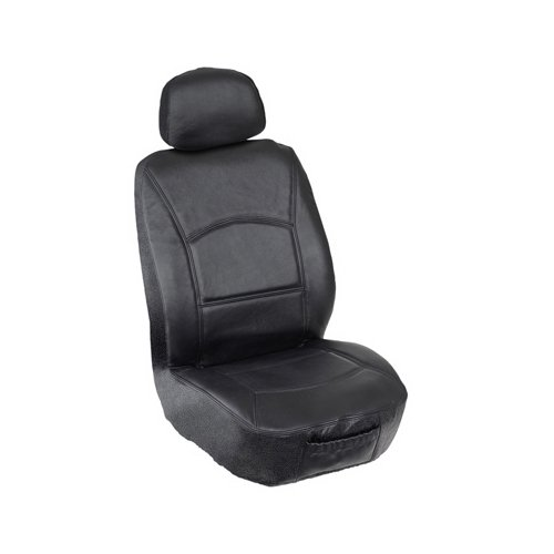 Elegant E 196013 Black Genuine Leather Low Back Seat Cover Automotive Innovations