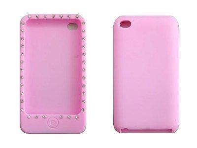 Housse de téléphone de silicone avec strass de protection de couverture de cas de Shell de l'iPhone 4 / 4S luxe élégance moderne et élégant noble rose