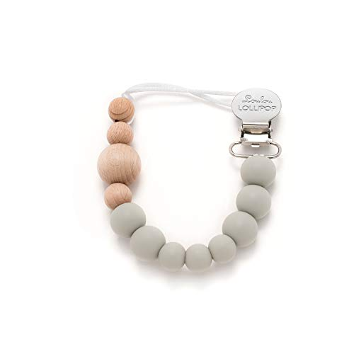 Loulou Lollipop - Colorblock Wood + Best Silicone Pacifier Clip and Holder - Cool Gray