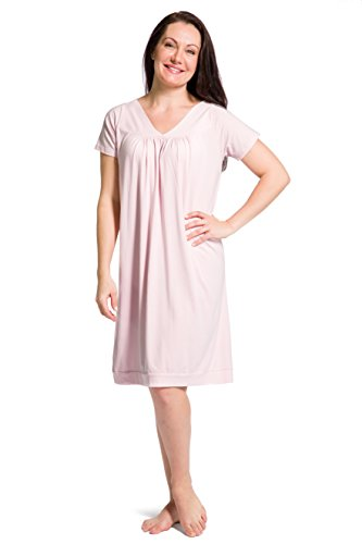 Fishers Finery Women's Tranquil Dreams Short Sleeve Nightgown  Comfort Fit, Heavenly Pink, Medium