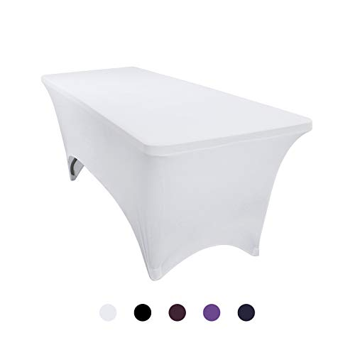 VEEYOO 8 Feet Table Cover - Polyester Stretch Spandex Table Cover - Rectangle Fitted Tablecloth for Wedding Party Banquet Trade Show, White (Cover Table White 8')