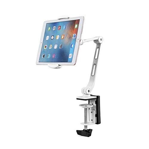 Suptek Aluminum Tablet Desk Mount Stand 360° Flexible Cell Phone Holder for iPad, iPhone, Samsung, Asus and More 4.7-12.9 inch Devices, Good for Bed, Kitchen, Office (YF208BW)