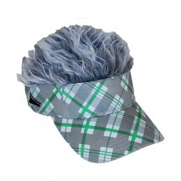J & M Flair Hair Green Argyle Visor/Gray Hair
