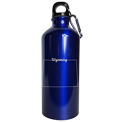 Wyoming State Pride USA Map - Water Bottle Metallic Blue