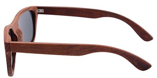 Soleil les Bambou Grey Sandalwood Red de Bois de Lunettes Retro Main cas Lunettes Z6016 Polarisée la Vintage SHINU de Soleil xwvqSx8