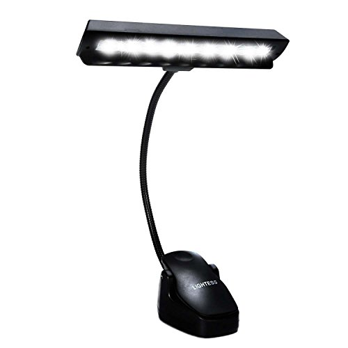 Lightess Music Stand Lights LED Clip on Book Lights Piano Reading Lamp USB Desk Lamp, Black