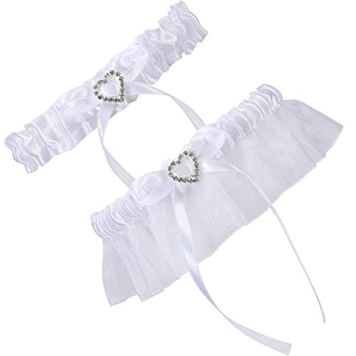 (Cosweet 2 Pcs Lace Wedding Bridal Garter Set- Stretchy Bridal Garters with Rhinestone Satin Bow for Bride Accessories Dress (Heart))