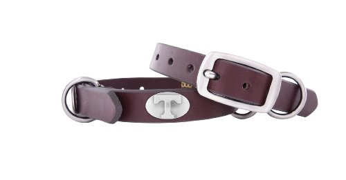 ZEP-PRO Brown Leather Concho Pet Collar, Tennesse Volunteers, X-Small