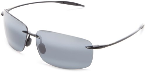MAUI JIM BREAKWALL 422 422-02 Polarized Aviator Sunglasses, Gloss Black Frame/Polarized Neutral Grey, One - Jim Maui Womens