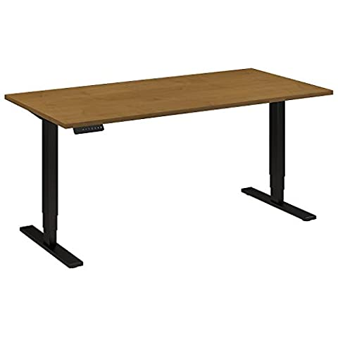 Move 80 Series 60W Height Adjustable Standing Desk in Natural Cherry with Black Base - Standard Height Cherry