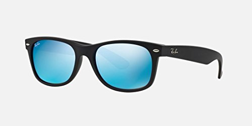 Ray-Ban-New-Wayfarer-Sunglasses-RB2132-Black-MatteBlue-Plastic-Non-Polarized-55mm