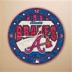 MLB Atlanta Braves 12-Inch Art Glass Clock