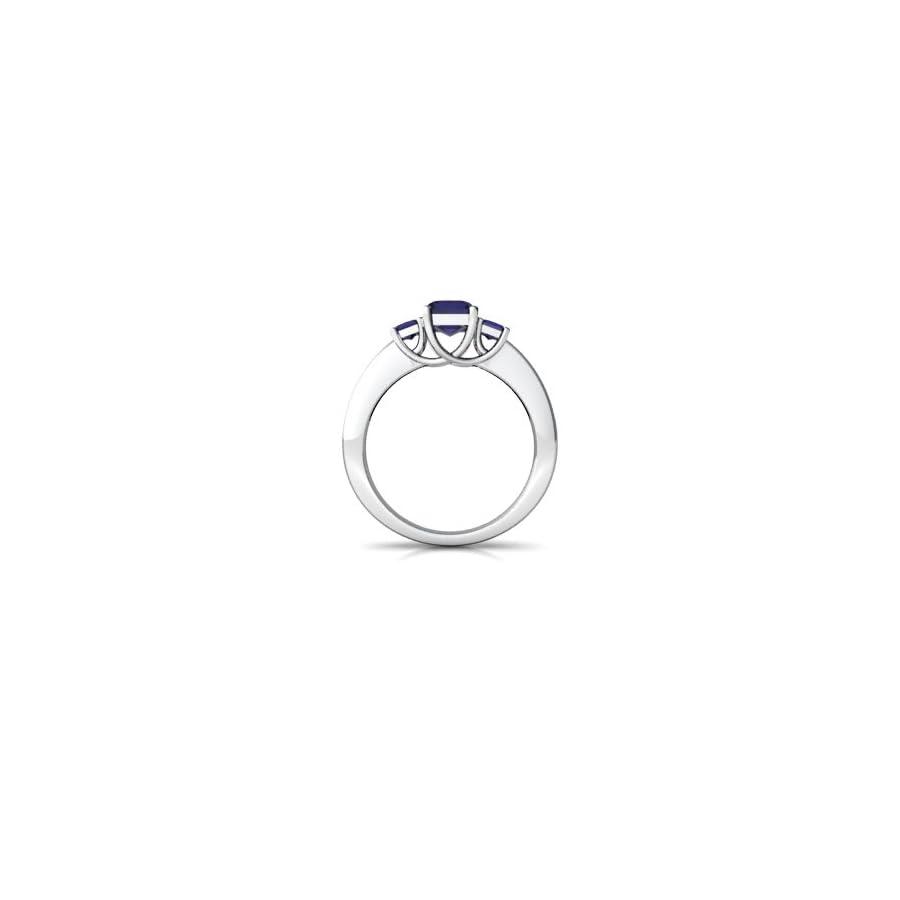 14kt Gold Sapphire 7x5mm Emerald Cut Three Stone Trellis Ring