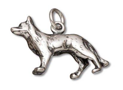 German Shepherd Dog Charm (Sterling Silver German Shepherd Dog Charm (23 x 13 mm))