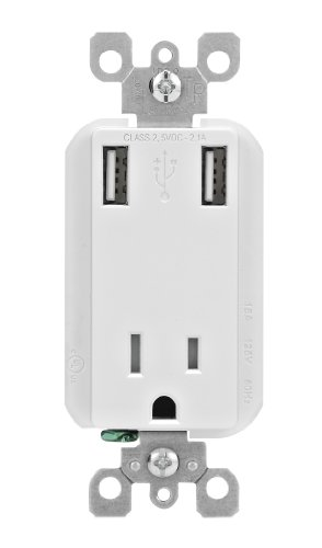 Leviton T5630-W 2.1-Amp High Speed USB Charger/Tamper-Resistant Receptacle, 15-Amp/125-Volt, White (Old Model)