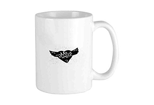 Cartoon Heart with Wings My Angel Stylized Lettering Black and White Dirty Look Funny Coffee Mug Cool Coffee Tea Cup 12 Ounces Perfect Gift for Family and ()