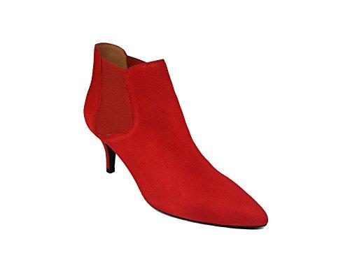 ILIRIO de Medio con Talla Mujer Rojo Ante Tacon de 40 Guinda Punta Botines Chelsea Gennia Cerrada Botier Piel Fina dqwXAd