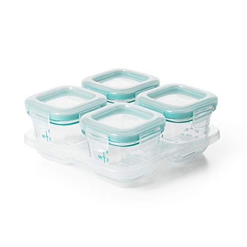 OXO Tot Glass Baby Blocks Food Storage Containers, Teal, 4 oz ()