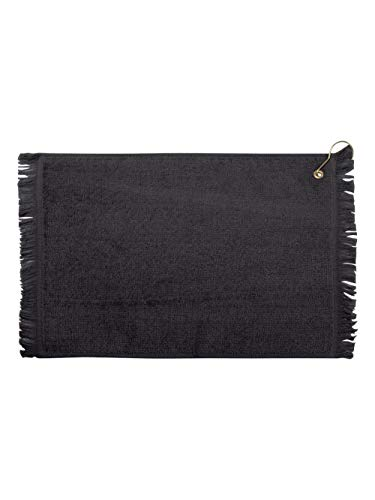 (Towels Plus By Anvil Fringed Fingertip Towel With Corner Grommet And Hook (Black) (ONE))