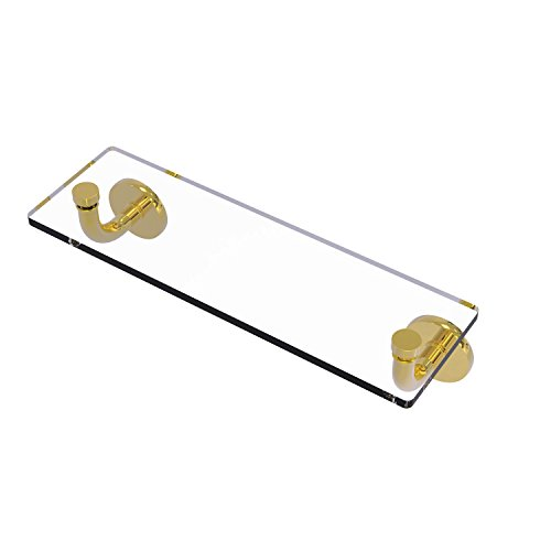 (Allied Brass RM-1-16-PB Remi Collection 16 Inch Glass Vanity Shelf with Beveled Edges Polished Brass )