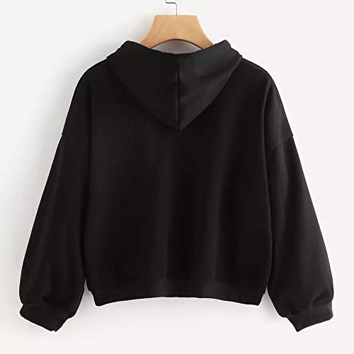 Blouse Autumn Women Black Solid Outwear Winter Sweatshirt Tops Morwind Hooded 6ASgS