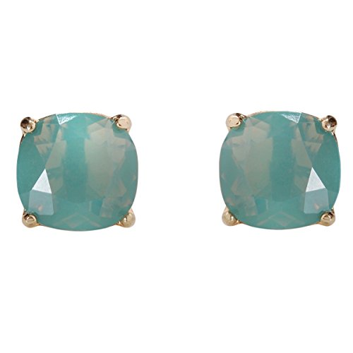Humble Chic Faceted Square Stud Earrings - Large Cushion Cut Statement Post Ear Studs .57