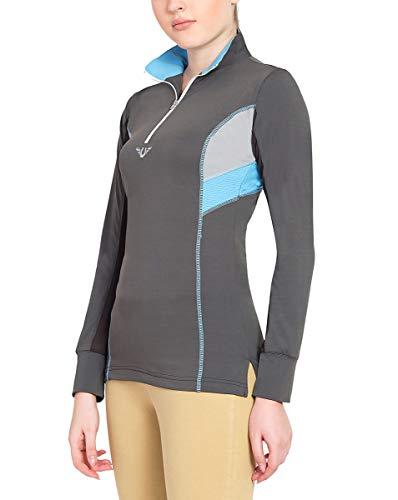 (TuffRider Women's Neon Ventilated Mock Zip Long Sleeve Sport Shirt | Women Horse Riding Polo Shirt - Charcoal/NeonBlue - Size Large)
