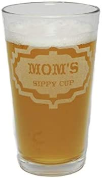 Mommys Sippy Cup Novelty 16 Ounce Heavy Duty Laser Engraved Pint Glass//Beer Glass Orange Kat