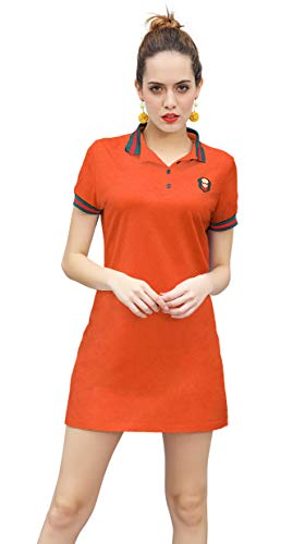 ZHIJINGBIANWEI Women's Stretch Cotton Casual Embroidered Summer Mini Short Sleeve Polo Dresses (Medium, Orange) ()