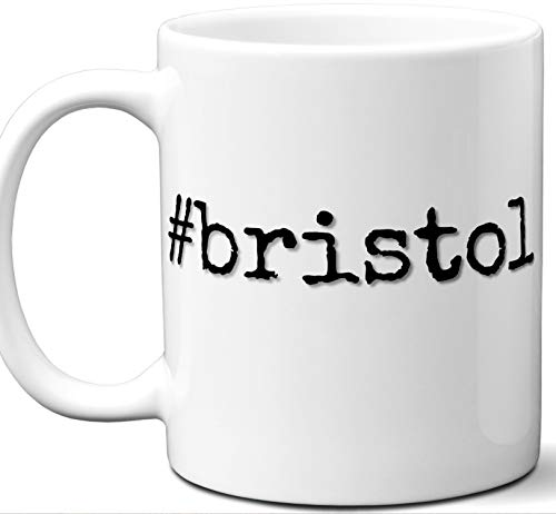 #bristol Gift Hashtag Mug. Cool, Hip, Unique Bristol, United Kingdom City Hash Tag Themed Tea Cup Men Women Fan Lover Birthday Mothers Day Fathers Day Christmas Coworker.