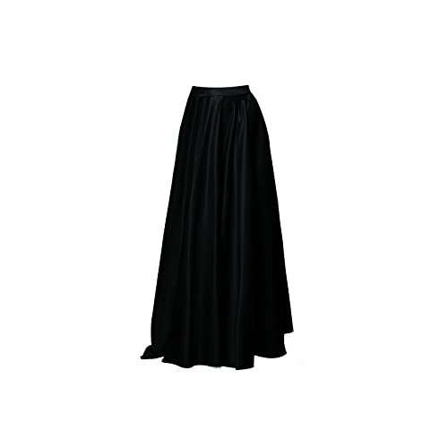Hot Alinia Women's Fashion Long Skirt Formal Satin A-Line High Waist Skirts With Pockets free shipping
