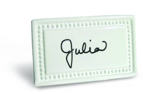 Place Tile Designs Set of 6 Beaded Dry-erase Ceramic Place Card with Vase
