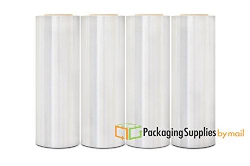 Cast Hand Wrap Stretch Clear Film 18'' x 1000' x 100 Gauge 4 Rolls by PackagingSuppliesByMail