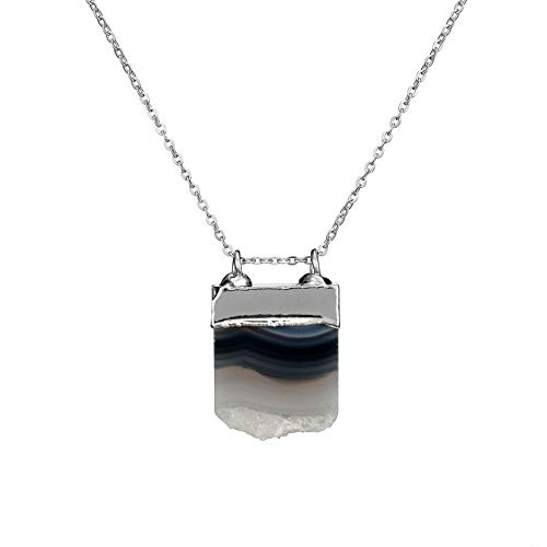 Bonnie Irregular Agate Pendant Gemstone Crystal Wire Natural Stone Necklace (4)