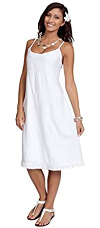 1 World Sarongs Womens White Lined Summer Sundress - White in X-Small