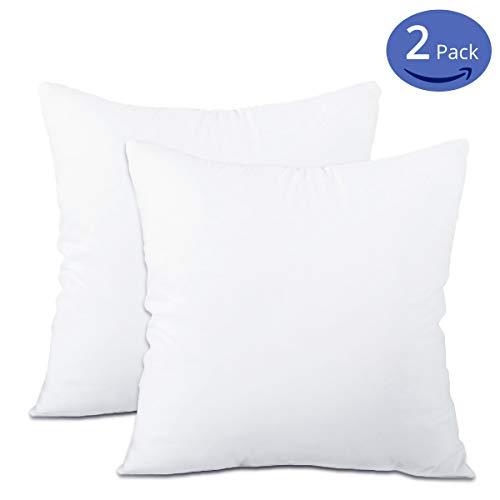 "Emolli 18 x 18 Pillow Inserts (Set of 2), Throw Pillow Inserts Premium Stuffer Down Alternative,Super Soft Microfiber Filled Decorative Pillow Cushion(18"" x 18""- 2 Pack,White)"