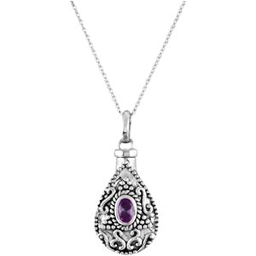 Violet-Red CZ Teardrop Ash Holder Necklace, Rhodium Plate Sterling Silver, 18'' by The Men's Jewelry Store (Unisex Jewelry)