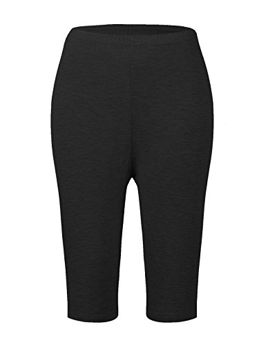 Striped Seersucker Bermuda Shorts (Passionate Adventure Women's Ultra Soft Bamboo Fibre Basic Shorts Cropped Bike Yoga Leggings Plus Size Black US Size 18-20W)